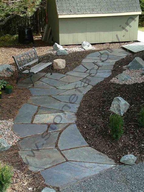 slate walkway and patio backyard pinterest