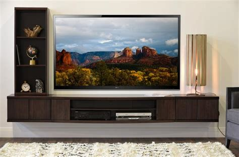 floating wall mount entertainment center tv stand curve  piece bo woodwaves