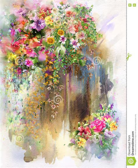 fiori astratti pittura fiori astratti sulla pittura dell acquerello della parete