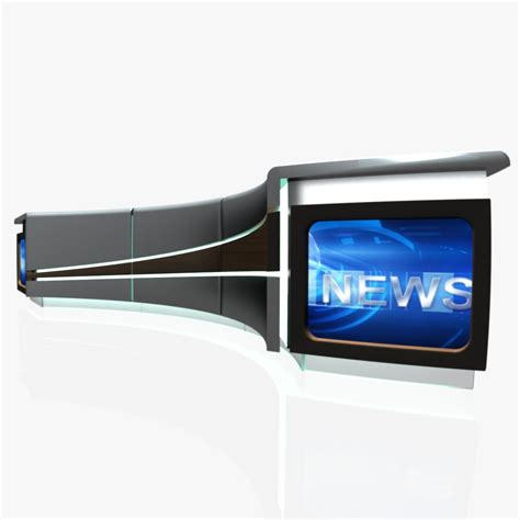 tv studio desk tv studio news desk 4 3d model furniture 3d models design 3ds max dxf fbx obj ar vr