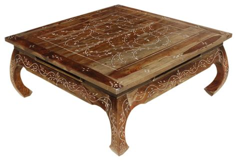 bone inlay wood opium square coffee table asian coffee