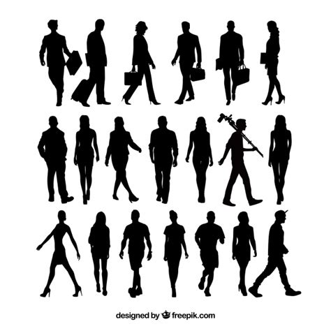 how to section a person 20 people silhouettes walking vector free download