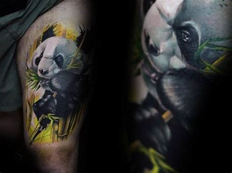 panda tattoo thigh 100 panda bear tattoo designs for men manly ink ideas