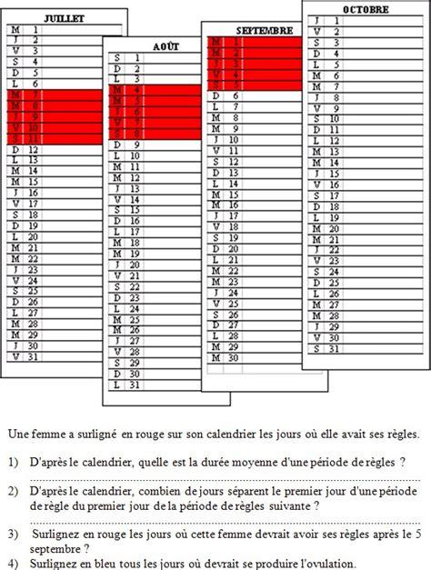 Calendrier Regles Le Fonctionnement Des Appareils Reproducteurs Sciences