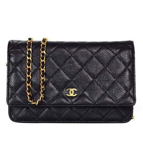 Ch Nel Woc Caviar 1 chanel black caviar leather woc wallet on chain crossbody bag ghw for sale at 1stdibs