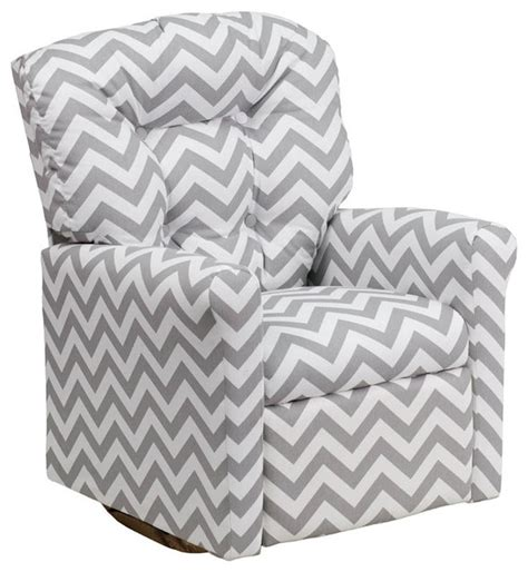 Print Fabric Recliner Chairs Zig Zag Gray Fabric Rocker Recliner Modern