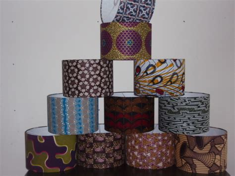 Handmade Fabric Lshades - mixed stack of handmade ankara print fabric lshades 30