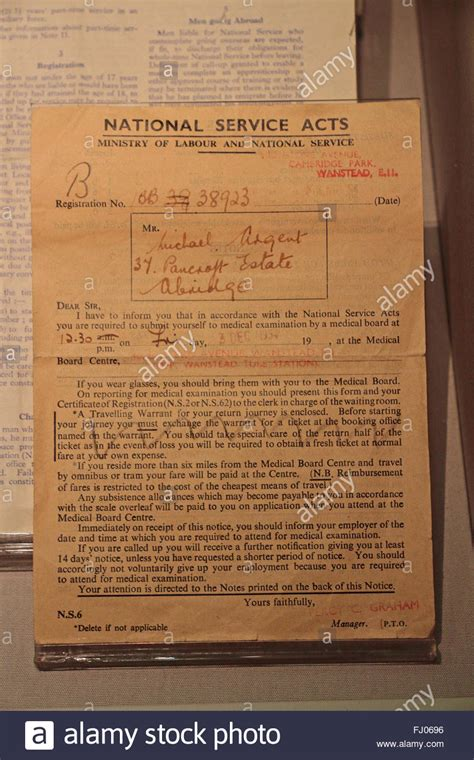 up letter to britain national service call up letter from the wwi on