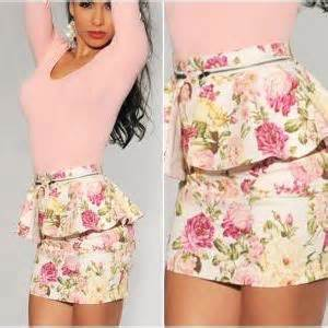 2351peplum Mini Dress High Quality With Necklace gorgeous floral printed peplum mini skirt on luulla