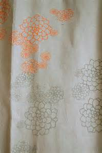 shower curtain unbleached canvas with orange grey