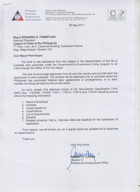 application letter addressed to the city mayor league of cities of the philippines poea government to