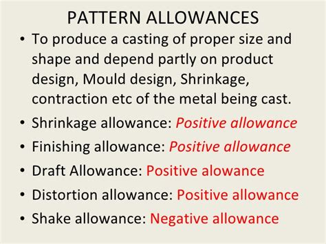 negative pattern allowances metal casting process