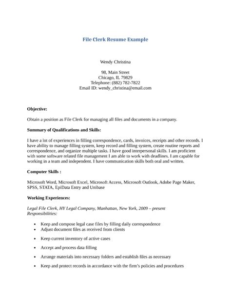 File Clerk Description For Resume basic file clerk resume template