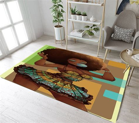 lb african american afro girl black woman area rug