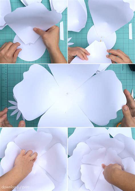 big paper flower pattern molde de flores de papel artesanato passo a passo