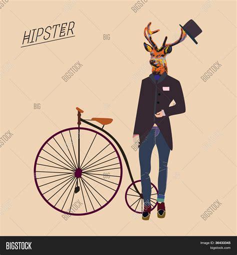 imagenes hipster vintage hipster deer vintage bike cool hat vector photo bigstock
