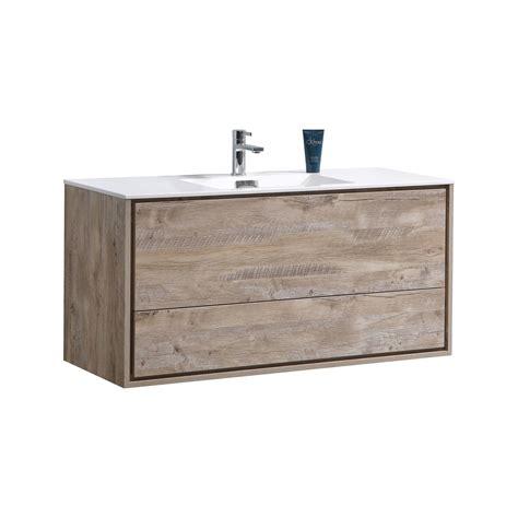 De lusso 48 quot single sink nature wood wall mount modern bathroom vanity kubebath