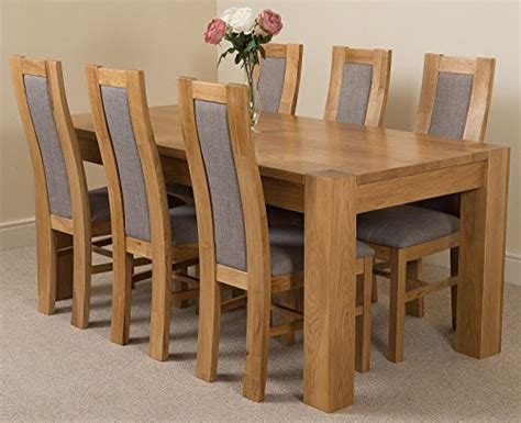 Chunky Solid Oak Dining Table And 6 Chairs Kuba Chunky 180cm Kitchen Solid Oak Dining Table 6 Solid Oak Fabric Chairs 100 Solid Oak