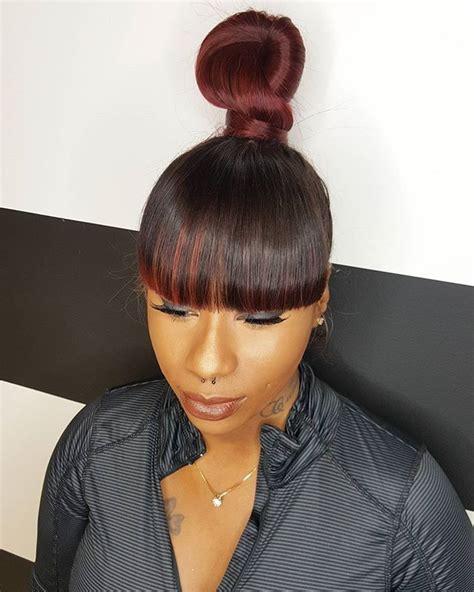 bun and bang hairstyle black women ninja bun and bang chloehair7studio hair killa