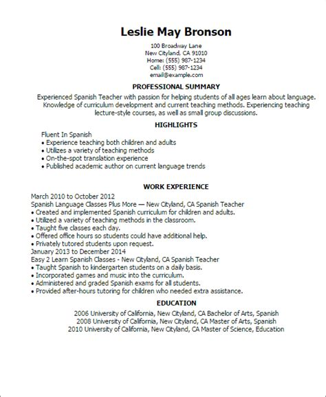 spanish tutor resume examples professional spanish teacher templates to showcase your