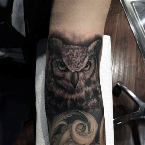 inner arm tattoo ideas for men 70 owl tattoos for creature of the designs