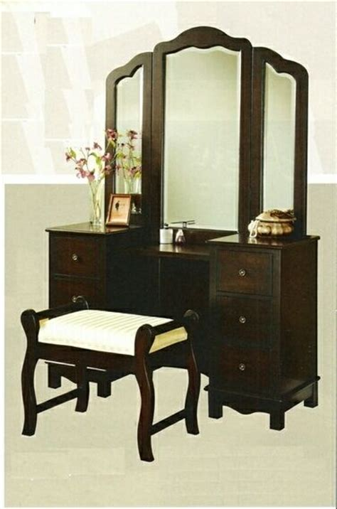 Espresso Bedroom Vanity by 3 Pc Espresso Finish Wood Large Size Bedroom Make Up