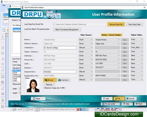 generate list of student id cards using mac student id screenshots of student id cards designing software to