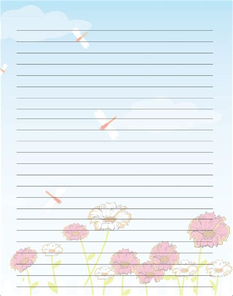 S Day Lined Paper Template Card by Free Printable S Day Writing Paper