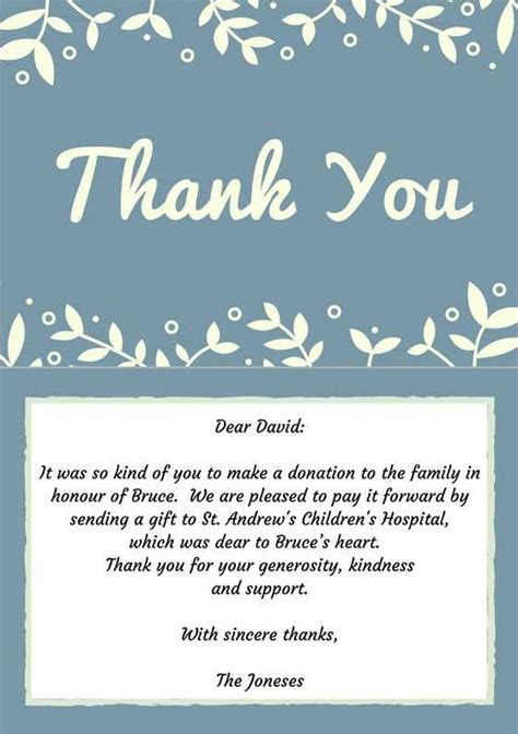Thank You Letter To Ideas 33 Best Funeral Thank You Cards