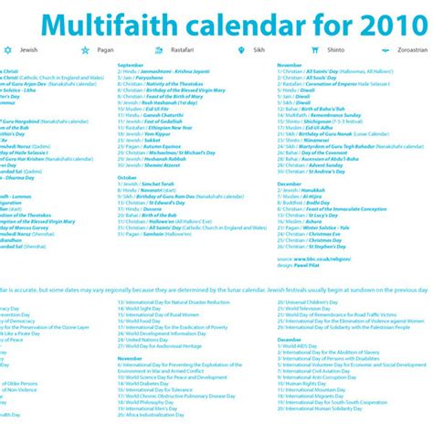 multifaith calendar for 2010 on behance