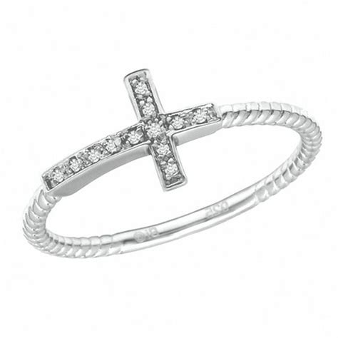 accent sideways cross ring in sterling silver
