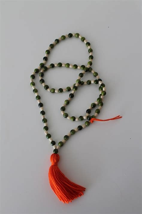 wooden bead necklace with tassel orange tassel necklace mala tassel necklace