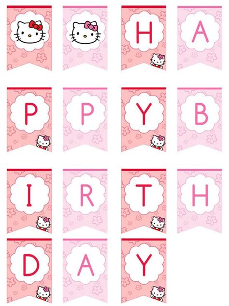 printable hello kitty numbers hello kitty happy birthday banner by printabletreats