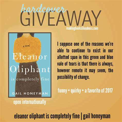 eleanor oliphant is completely giveaway eleanor oliphant is completely fine by gail honeyman reading books like a boss