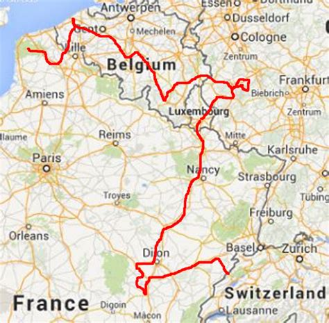 boulay frankreich to via luxembourg germany and belgium