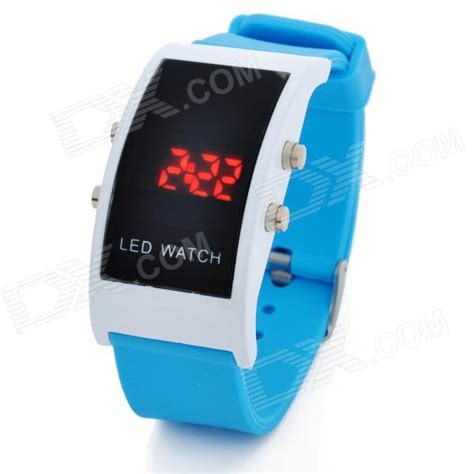 simple square digital led wrist blue 1 x cr2032