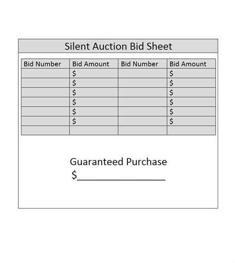 silent auction bid sheets sop example
