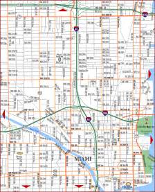 road map of miami downtown miami florida aaccessmaps