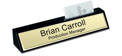 desk name plate with card holder black marble desk plate with card holder