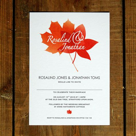 fall wedding invitations and save the dates autumn leaves wedding invitations and save the date by