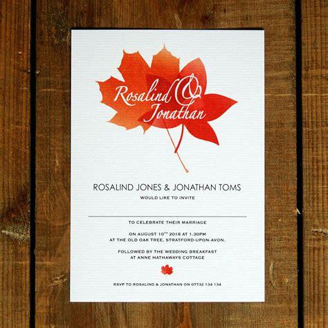 autumnal wedding invitations autumn leaves wedding invitations and save the date by feel wedding invitations