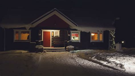 pov house pov cozy wooden house in winter forest at night finland stock footage video