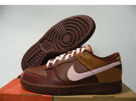 nike dunk low premium sneakers shoes brown pink 309730 261 size 8 new ebay