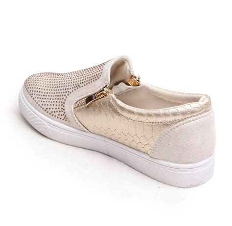 gold sneakers womens womens diamante trainers croc skin slip on gold sneakers