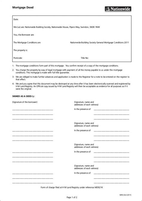 5 Mortgage Deed Sles Templates Sle Templates Mortgage Deed Template