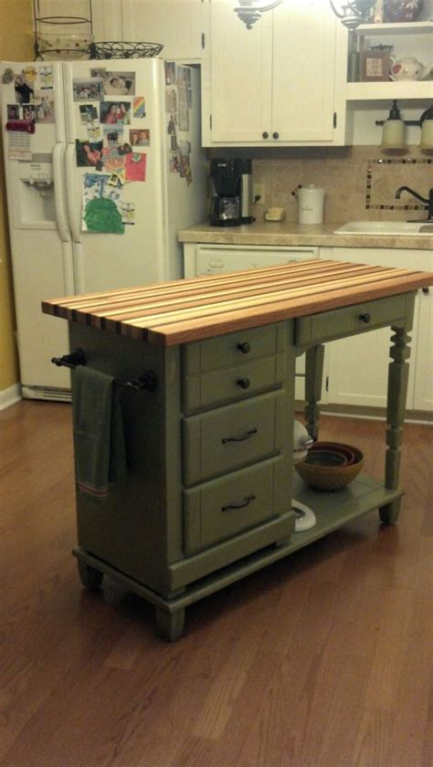 diy kitchen island diy kitchen island repurpose your desk refurbished
