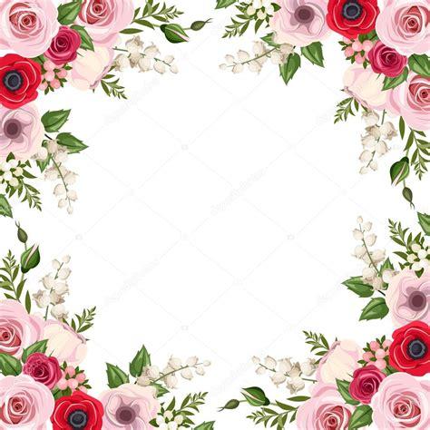 cornice con fiori cornice con rosse e rosa lisianthus e fiori di