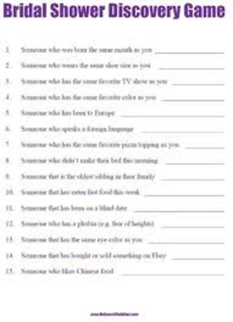 bridal shower discovery game printable bridal shower discovery game wedding bridal shower
