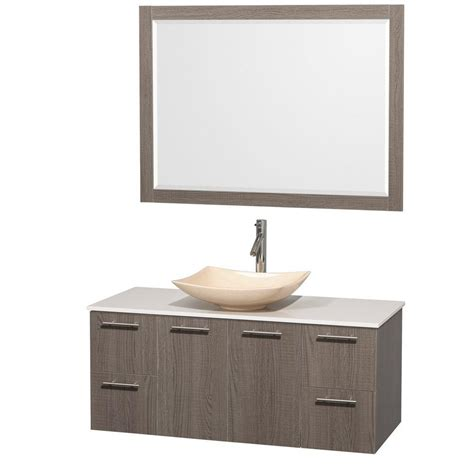 Solid Surface Vanity Sinks by Wyndham Collection Amare 48 In Vanity In Gray Oak With Solid Surface Vanity Top In White