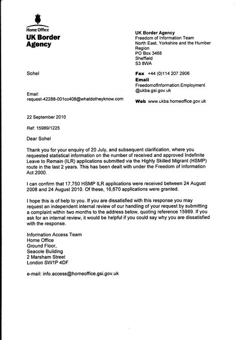 Sle Letter Of Support Home Office Ilr Through Hsmp Route A Freedom Of Information Request